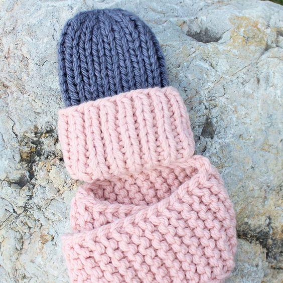 Объемная шапка с отворотом на зиму и снуд Толстая зимняя вязаная шапка