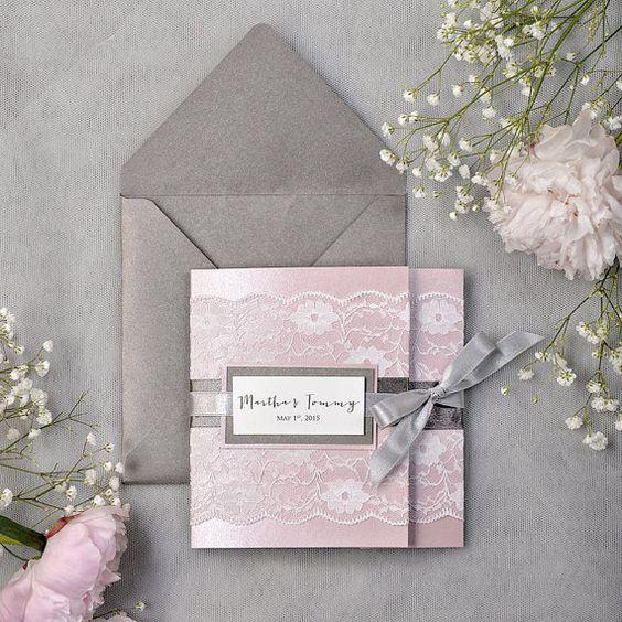 Pink and Grey wedding - Dark Grey and Pink Lace Wedding Invitation, Pocket Fold Wedding Invitations , Pink Wedding invitation