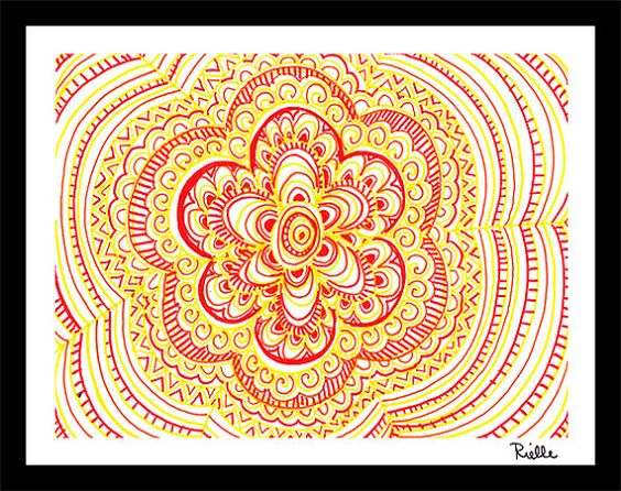 """Greeting Art Card w/envelope, """"Gleams of Sunshine,"""" by Rielle 5 1/2"""" x 4 1/4"""" on Etsy, $4.99"""