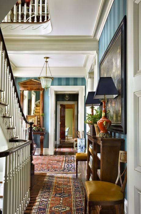Decorate In Ivy League Preppy Style Home House Interior Striped Walls Living Room