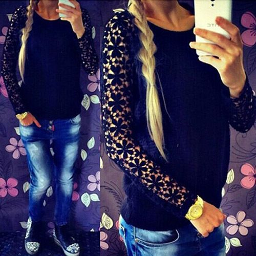 Fashion Hollow Out Lace Spliced Long Sleeve Round Neck Pullover Sweater