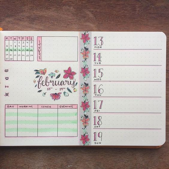 Next week's spread, ready to go #bulletjournal #bujo #bujoweekly #weeklyspread #floraltheme #february #journal #weeklylayout #bulletjournalspread:
