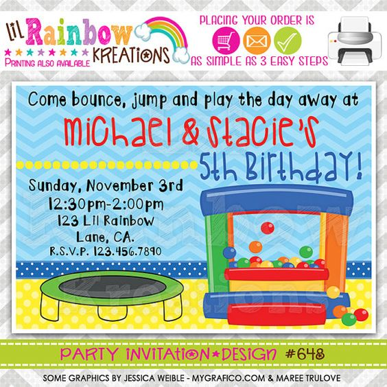 648 DIY Bounce House Fun 8 Party Invitation Or by LilRbwKreations