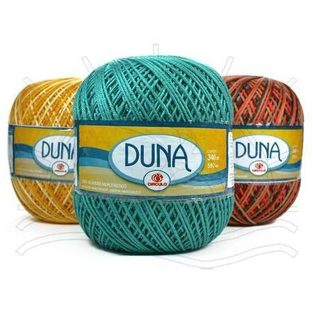 Linha Duna   Fio de algodão com o dobro de espessura da linha Anne. Ideal para confecção de peças de decoração em crochê ou peças de vestuário em crochê ou tricô.  Possui brilho e maciez incomparável.   Composição: 100% Algodão Mercerizado Contém: 340m   Fabricante:  Círculo