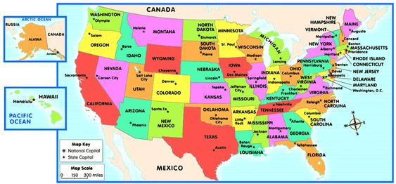 US Map With Capitals States And Capitals US State Capitals List - Map of us capitals