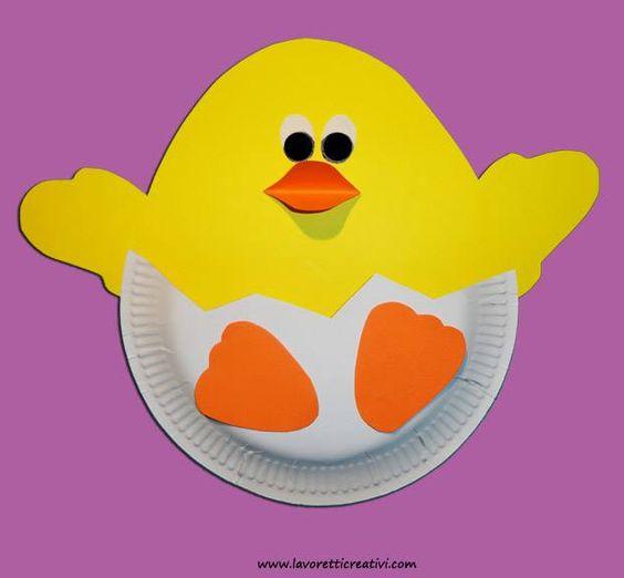 Poussins assiette en carton bricolage et diy p ques - Bricolage avec des assiettes en carton ...