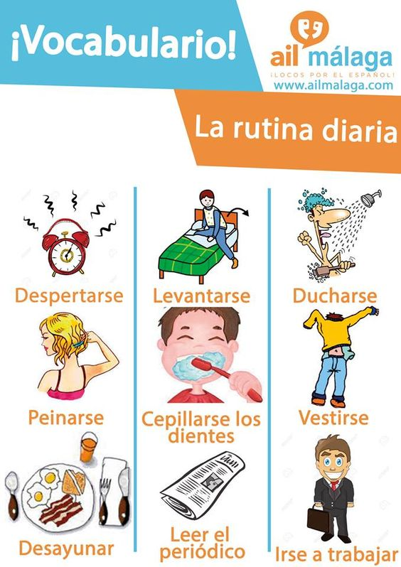 Wether you're working or studying you must have a #daily #routine, how about trying to explain it in #Spanish? All the vocabulary you'll need is here :) #LearnSpanish #SpanishSchool #SpanishVocab