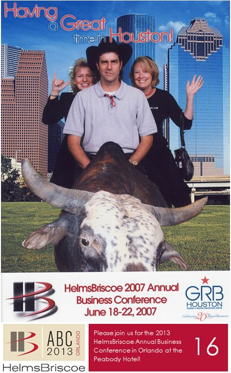 2007 - HelmsBriscoe celebrated its 15th anniversary at two host properties, the Hyatt Regency  Houston and Hilton Americas – Houston. This was the first year the gala awards evening was opened to partner attendees,  and the conference concluded with a memorable street party. #HBABC #WhyHB