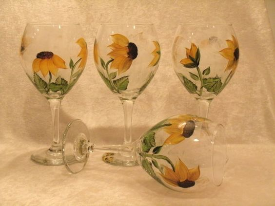 SUNFLOWER WINE GOBLETS set of four by RBEBERUS436 on Etsy, $30.00