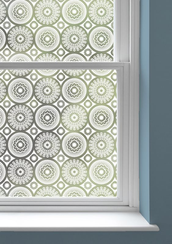 Mini Moderns   Darjeeling Window Film - net curtain alternative