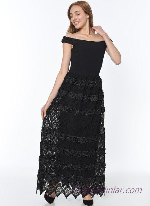 Koton Abiye Elbise Modelleri Siyah Uzun Omzu Acik Dantel Etek Elbise Modelleri Elbise Etek