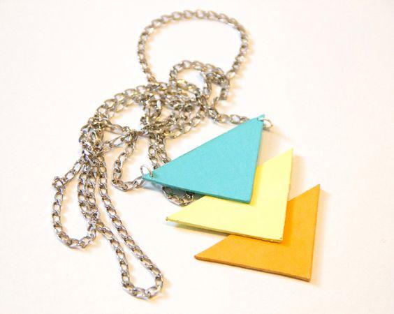 DIY geometric triangle necklace 2