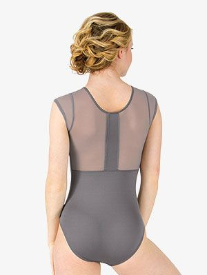 Ladies Sheer Mesh Insert Stretchy Leotard Bodysuit Women Short Sleeve Casual Top