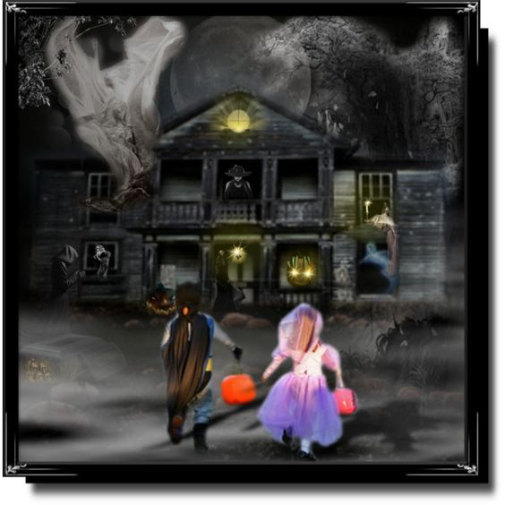 Don't go trick or treating at the Haunted House by cathy1965 on Polyvore featuring art