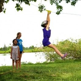 Backyard Zipline Kit. Sturdy metal trolley will have your kids zipping through trees on backyard adventures! $99.95
