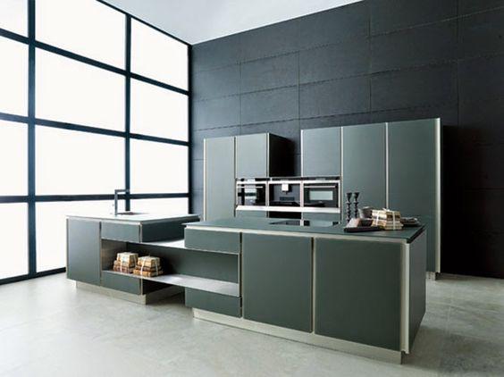 Cuisine #design en verre gris anthracite avec îlot by @Porcelanosa_EN