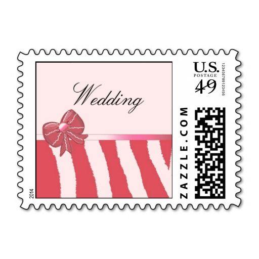 Coral Stripes and Bow Wedding Postage