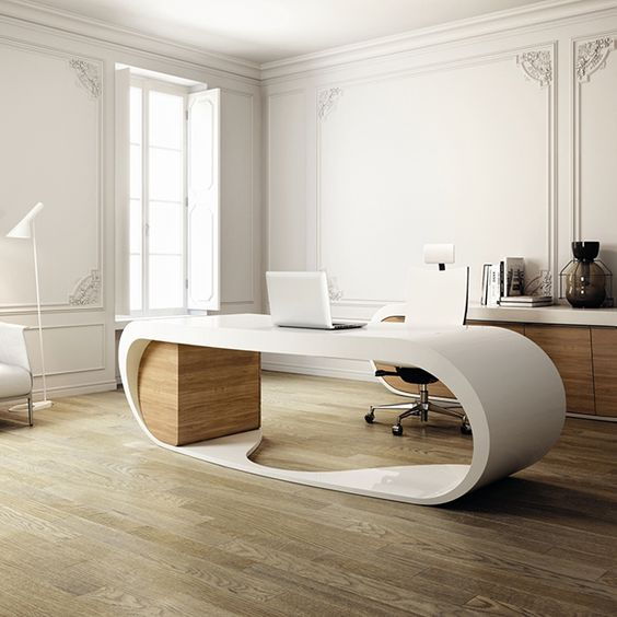 Beautiful home office design with modern inspiration - that desk is amazing!