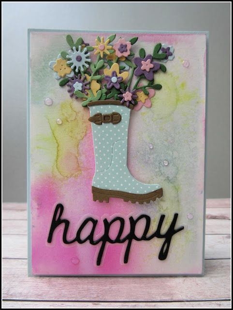 Handmade Card notelet blank wellie boot gardening Thank You Sympathy Birthday