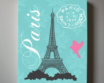 Eiffel Tower Canvas Art Paris Bedroom Decor Girls Room by MuralMAX