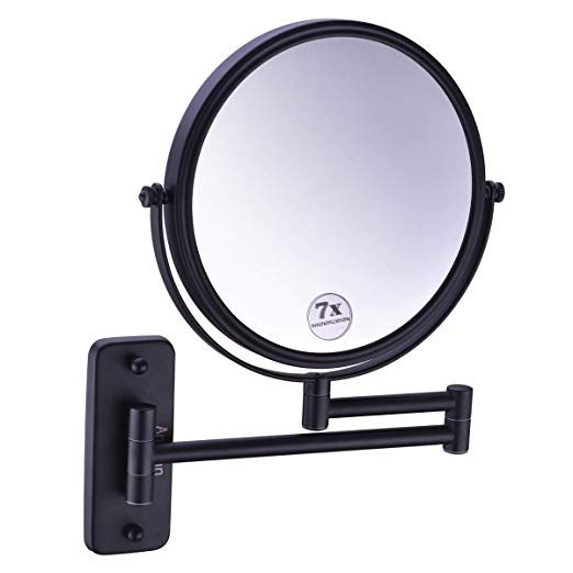 Anpean Wall Mounted Makeup Mirror 7x Magnification With 12 Inch Extension Cosmetic Mirror Matte Black Review Wall Mounted Makeup Mirror Wall Mounted Magnifying Mirror Makeup Mirror