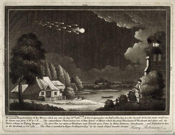 Astronomía: una lluvia de meteoritos en el cielo nocturno. Mezatinta, después de 1783