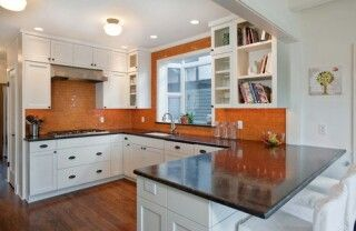 Orange Kitchen Walls orange walls, white cabinets, dark countertopthis will be my