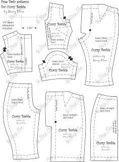 Free Printable Barbie Clothes Sewing Patterns : printable, barbie, clothes, sewing, patterns, Printable, Patterns, Curvy, Barbie, Sewing, Clothes,, Clothes, Patterns,