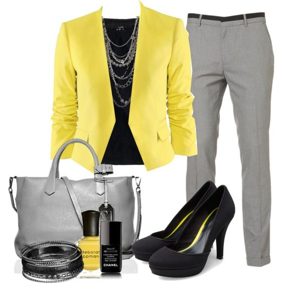 Work Outfit: Work Clothes, Summer Outfit, Business Attire, Grey Yellow, Black Grey, Work Outfits
