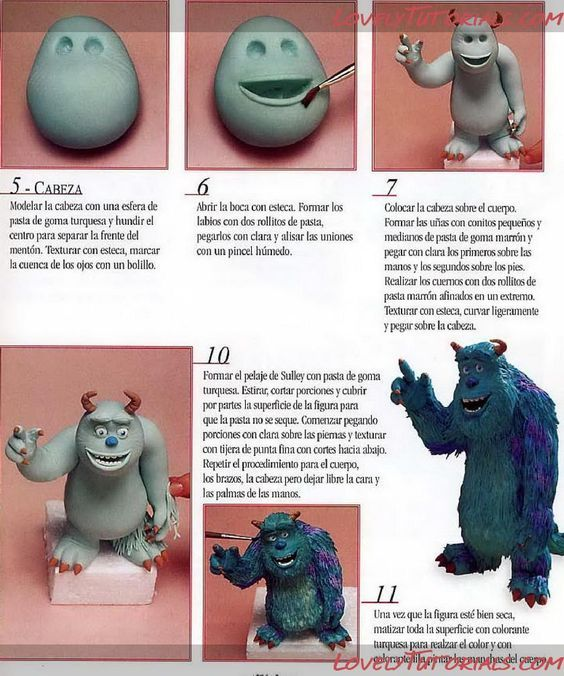 мк лепка корпорация монстров Gumpaste Fondant Polymer Clay Monsters Inc Characters Making Tutorials Cake Decorating Tutorials Fondant Animals Fondant