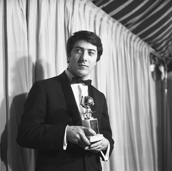 Dustin Hoffman with his Golden Globe for Most Promising Newcomer.