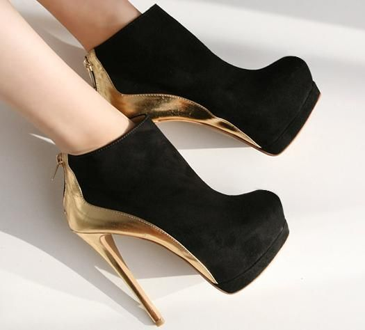 Free shipping beautiful front desk stiletto color block boots wholesale ankle booite heels with black gold-in Boots from Shoes on Aliexpress.com