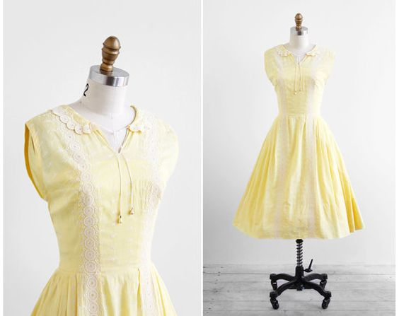 vintage 1950s dress / 50s dress / Yellow Cotton by RococoVintage, $186.00