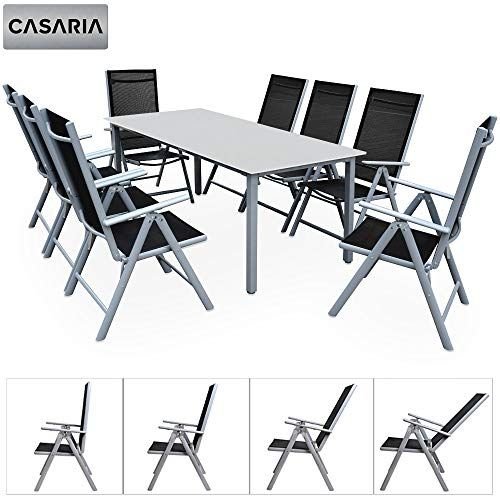 Casaria Salon de Jardin Aluminium Argent Bern 1 Table 8 ...