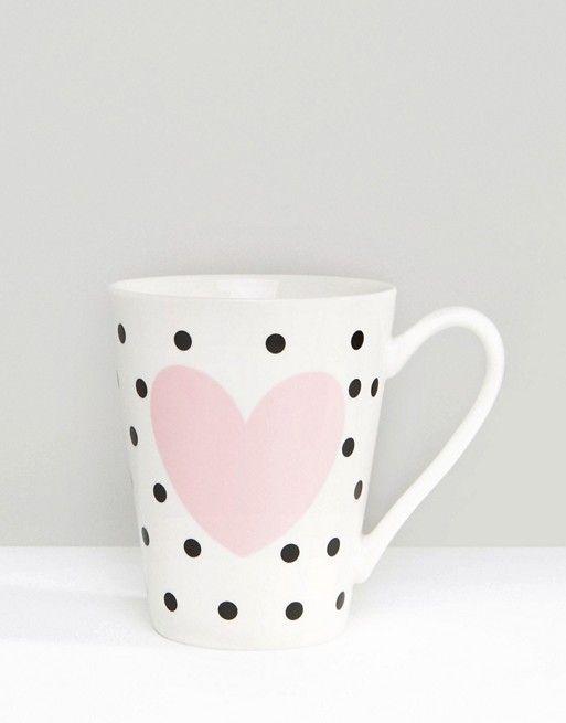 Miss Etoile Pink Heart Bone China Mug