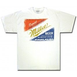This white t-shirt shows a vintage Miller Export Lager label on the front reading The Best Milwaukee Beer by Miller High Life Co.