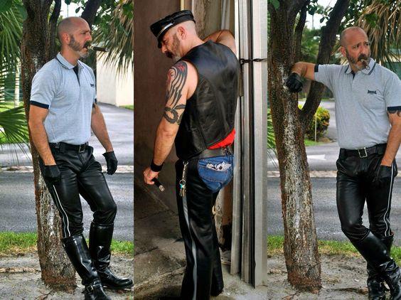 """""""On da street in da 'hood"""". #UrbanLeather #LeatherOutdoor"""