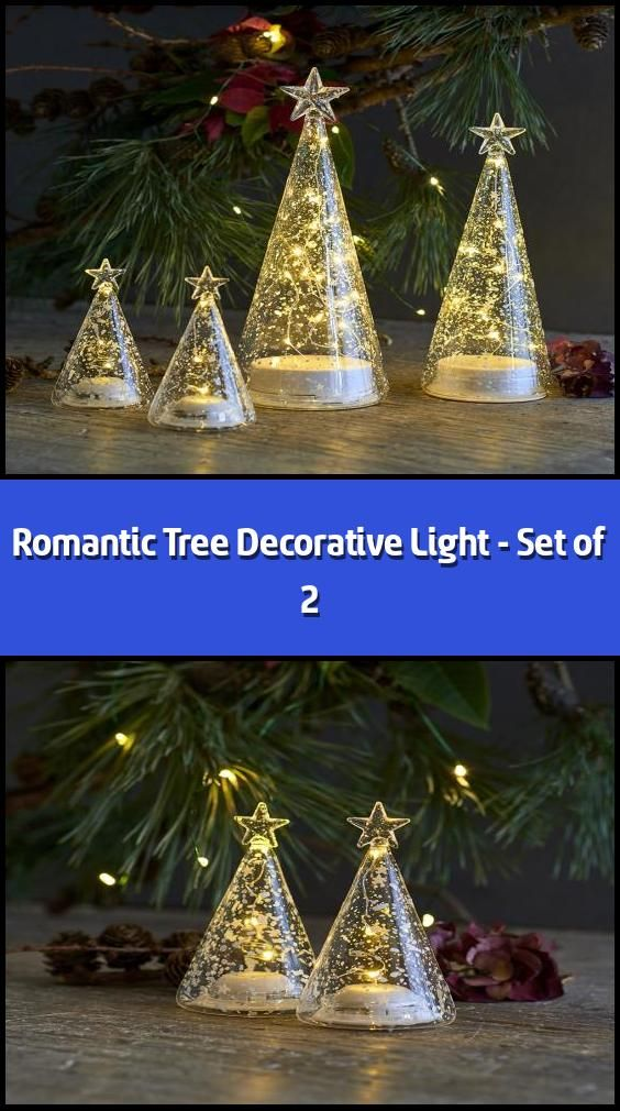 Tops Christmas Hours 2020 Romantic Tree Decorative Light   Set of 2   LED light tree