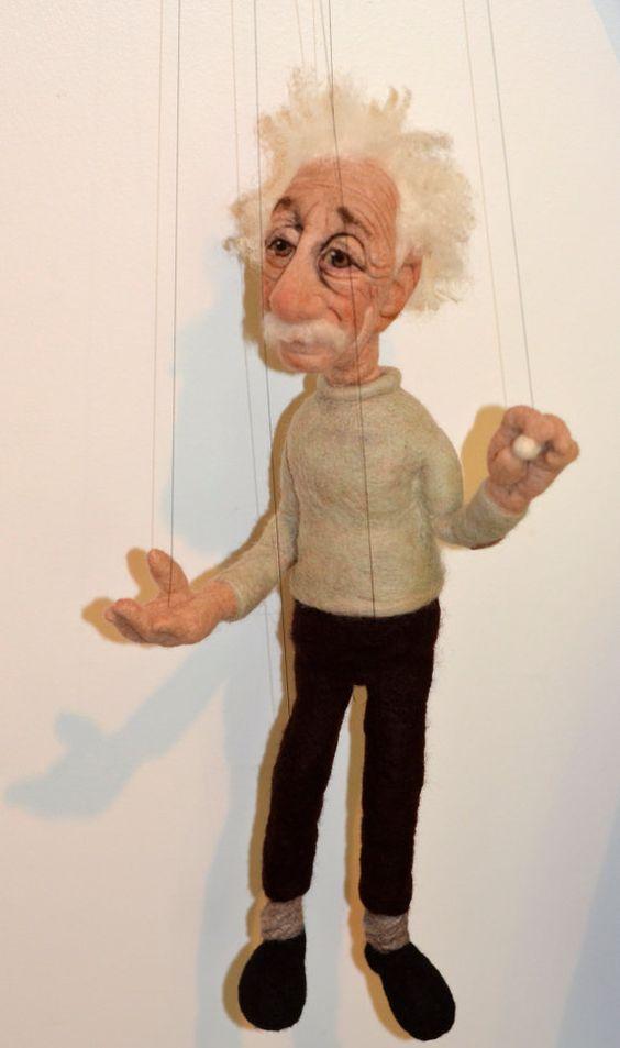 Needle Felted Einstein Marionette by Richard Hanna Felt.