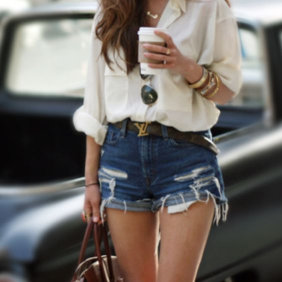 Simple and chic: Summeroutfit, Summer Outfit, Denim Short, Fashion Style, Jeanshort, High Waisted Short