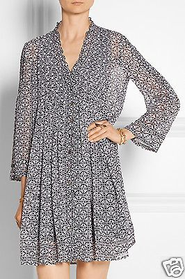 New Diane Von Furstenberg Layla Silk Chiffon Tunic Dress In Bali Lace Black 14