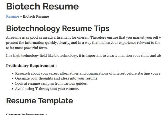 Good tips and 2 great links to sample resumes toward the bottom - biotech resume template
