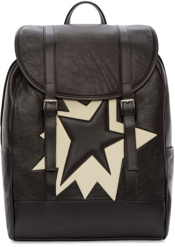 Nei Barret - Black & White Leather Pop Art Backpack