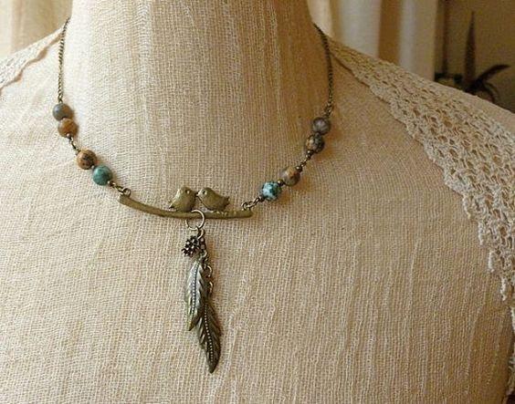 Handmade Love Bird Necklace Stone Bead And by TeapotTreasuresUK,