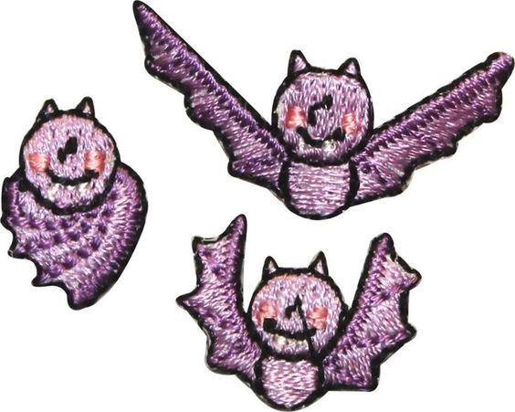 "Amazon.com: [3 Count Set] Custom and Unique (1 1/2"" x 1/2"" Inch) ""Halloween"" Cute Girly Festive Flying Smiling Vampire Bat Design Iron On Embroidered Applique Patch {Purple, Pink & Black Colored}"