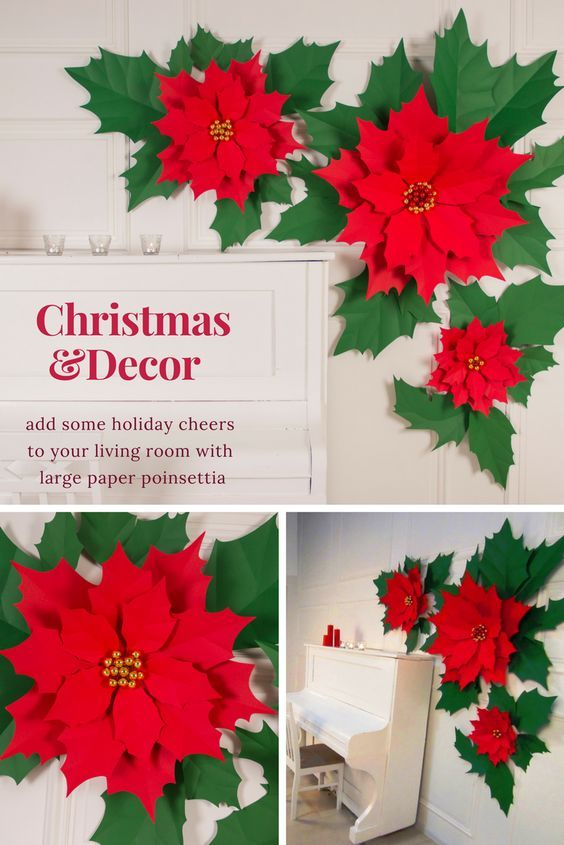 Christmas Wall Decor Traditional Christmas Poinsettia Large Etsy Christmas Flower Decorations Christmas Flowers Christmas Wall Decor