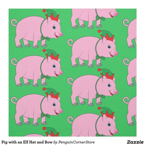 Pig with an Elf Hat and Bow Fabric