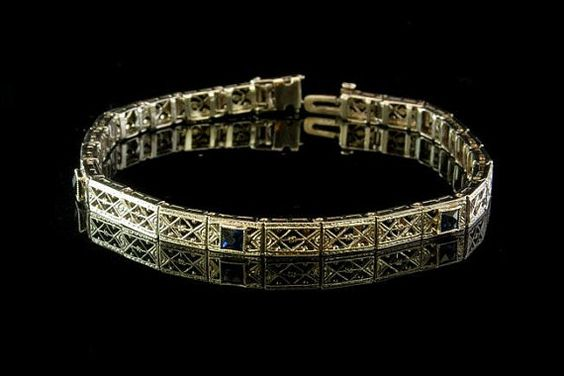 Antique Art Deco Sapphire 14k White Gold Filigree by EtsyClassic