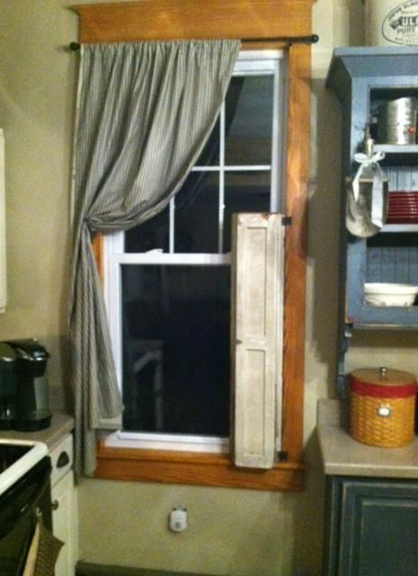 My Old shutters and new window treatments!