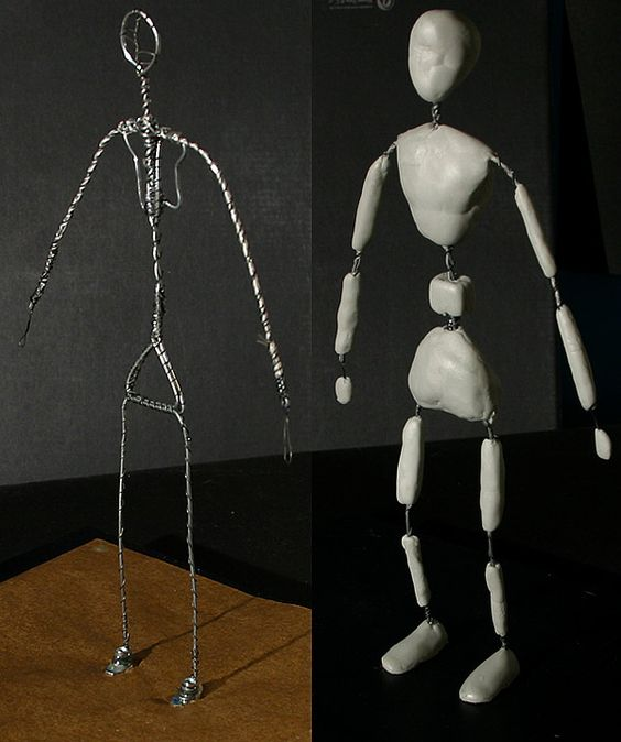 Claymation Armature Tutorial - building a wireframe now